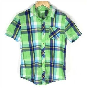 Boys Plaid Short Sleeve Button Down Shirt 14/16